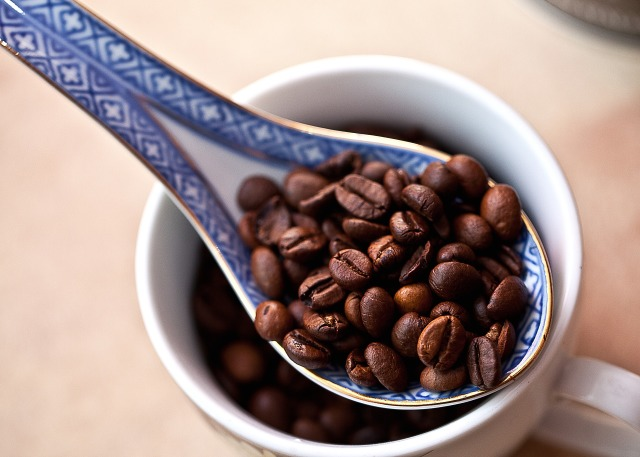 青いスプーンで掬ったコーヒー豆